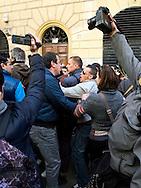 Roma 9 Marzo 2012.Manifestazione dei Movimenti per il diritto all'abitare davanti al CIPE, Comitato Interministeriale per la Programmazione Economica,che oggi doveva stanziare 20 milioni di euri per la compensazione per la TAV,i manifestanti protestavano per l'uso del denaro pubblico in opere come la TAV.La polizia  a caricato e fermato alcuni manifestanti..