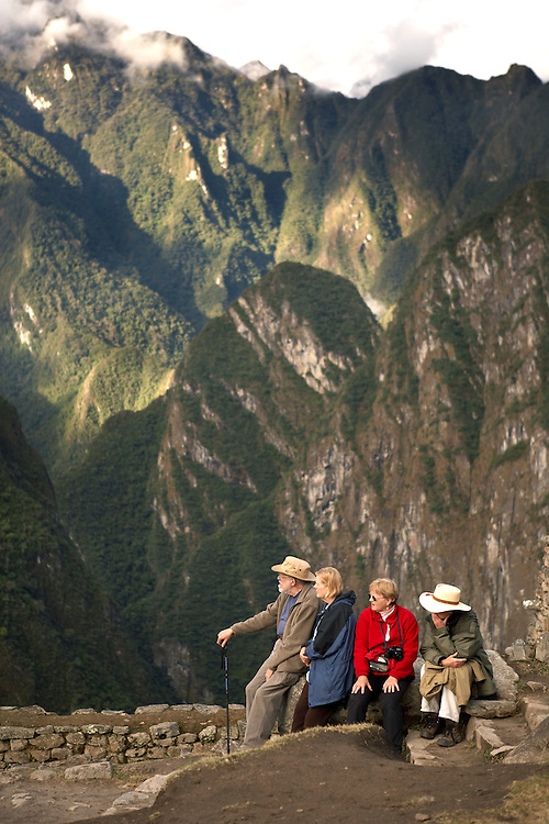 Travelers resting at Machu Picchu  Peru  Not Released