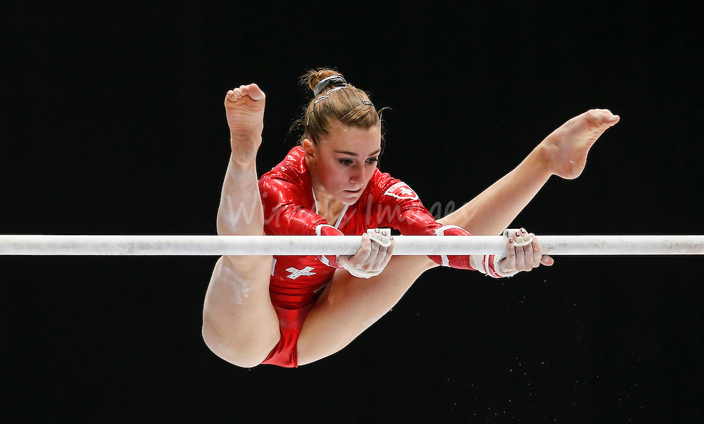 Ilaria Kaeslin of Switzerland competes on the Uneven Bars during the women's all around final at the Artistic Gymnastics World Championships in Antwerp, Belgium, 04 October 2013.