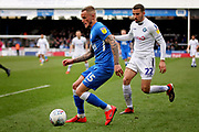 Peterborough Utd midfielder Joe Ward (15) and Wycombe midfielder Nick Freeman (22) during the EFL Sky Bet League 1 match between Peterborough United and Wycombe Wanderers at London Road, Peterborough, England on 2 March 2019.