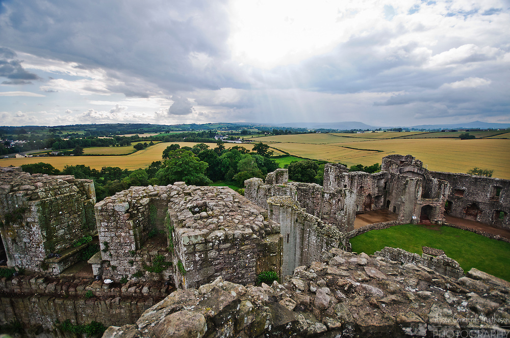 Raglan Castle is the ruin of a medieval castle in Monmouthshire, Wales.