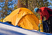 Backcountry skier and yellow dome tent, Yosemite National Park, California