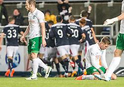 Hibernian's players dejected after Falkirk's David McCracken's winning goal.<br /> Falkirk 1 v 0 Hibernian, Scottish Championship game played 6/12/2014 at The Falkirk Stadium .