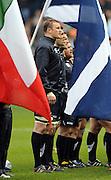 Scotland captain Ali Kellock lines up for teh national anthems.<br /> Scotland v Italy, Six Nations Championship, Murrayfield, Edinburgh, Scotland, Saturday 19th March 2010.<br /> Please credit ***FOTOSPORT/DAVID GIBSON***
