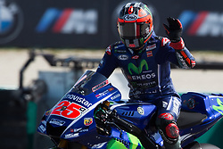September 8, 2017 - Misano Adriatico, RN, Italy - Maverick Vinales of Movistar Yamaha MotoGP greet the fans after the Free Practice 2 of the Tribul Mastercard Grand Prix of San Marino and Riviera di Rimini, at Misano World Circuit ''Marco Simoncelli'', on September 08, 2017 in Misano Adriatico, Italy  (Credit Image: © Danilo Di Giovanni/NurPhoto via ZUMA Press)