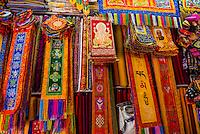 Silk brocade Buddhist artwork in a shop in Kathmandu, Nepal.
