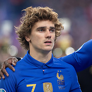 PARIS, FRANCE - March 25:  Antoine Griezmann #7 of France lines up with the French team during the National Anthems before the France V Iceland, 2020 European Championship Qualifying, Group Stage at  Stade de France on March 25th 2019 in Paris, France (Photo by Tim Clayton/Corbis via Getty Images)
