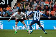Valencia CF vs Deportivo La Coruña - La Liga MAtchday 29 - Estadio Mestalla, in action during g the game -- Carles Soler (left) midfielder for Valencia CF defends Carles Gil (right) from Deportivo La Coruña