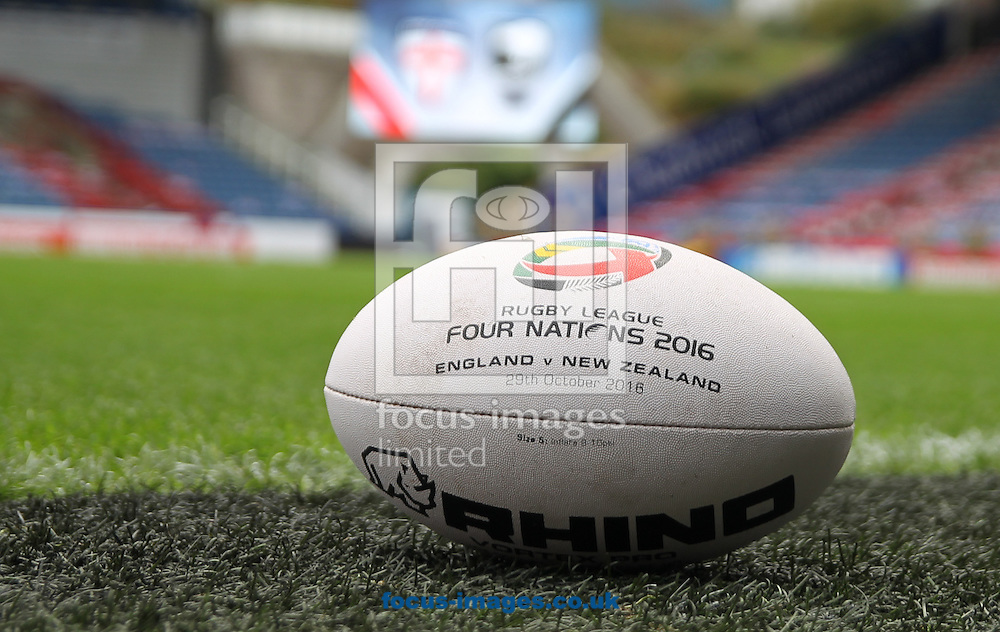 General Stadium view of the John Smiths Stadium with special match ball ahead of England vs New Zealand during the 2016 Ladbrokes Four Nations match at the John Smiths Stadium, Huddersfield<br /> Picture by Stephen Gaunt/Focus Images Ltd +447904 833202<br /> 29/10/2016