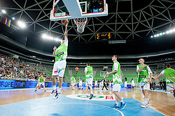 Team Slovenia warm-up during basketball match between National teams of Slovenia and France in Quarterfinal Match of U20 Men European Championship Slovenia 2012, on July 20, 2012 in SRC Stozice, Ljubljana, Slovenia. (Photo by Matic Klansek Velej / Sportida.com)