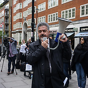 Home Office,London,England,UK.13th April 2017. The International Federation of Iraqi Refugees (IFIR) protest against the detention of 30 Iraqi refugees over the last week in apparent preparation for a mass deportation charter flight to Iraq demand for their release. Sending the3m back its only a death sentencing for them and is against human rights and International Law. Its not just the sentences of the father, its another sentencing to the children cand the wife in UK outside Home Office,London,UK. by See Li