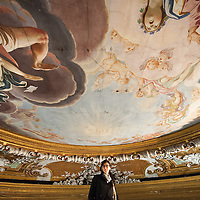 "Anna Scavezzon of ""Restauri Aperti""  inspects restoration works  on the ceiling of the Gesuiti church. Several major restoration works are being carried out in this period in Venice, the go to a complete refurbishment of the famous Gritti Palace Hotel, to transformation into a luxury VIP 7 stars hotel of XV century Palazzo Papadopoli to the restoration of the Church of the Gesuiti"