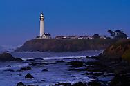 Waves and coastal rocks near Pigeon Point Lighthouse at dawn, San Mateo County coast, California