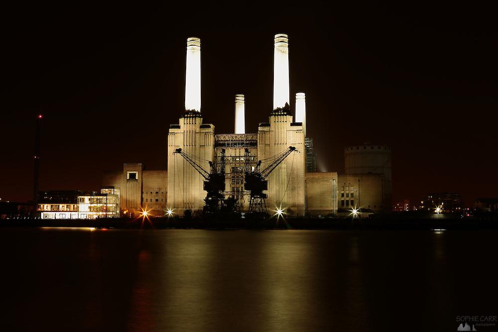 Battersea Power Station at night, London