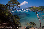 FRANCE, Provence: The island of Porquerolles in the Isles des Hyeres is renowned for its peace and quiet amongst the French. It is a sailing centre with clear turquoise waters such as here at Notre Dame Bay.