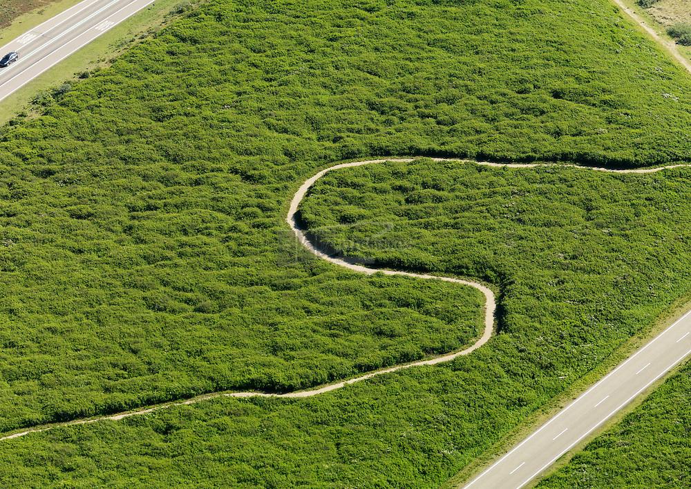 pad in het groen op het voormalig werkeiland Neeltje Jans
