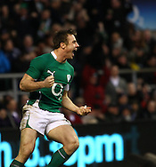 'Twickenham - Saturday, February 27th, 2010: Tommy Bowe of Ireland celebrates his try during the RBS Six Nations match between England and Ireland at Twickenham. (Pic by Andrew Tobin/Focus Images)
