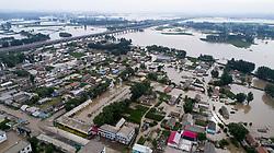 July 22, 2017 - Jilin, Jilin, China - Jilin, CHINA-July 22 2017: (EDITORIAL USE ONLY. CHINA OUT)..Aerial photography of Huapichang Town after a heavy rain hit in Jilin, northeast China. (Credit Image: © SIPA Asia via ZUMA Wire)