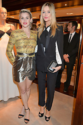 Left to right, ASHLEY ROBERTS and LAURA WHITMORE at a party to celebrate the publication of Front Roe by Louise Roe held at Ralph Lauren, 1 New Bond Street, London on 1st April 2015.