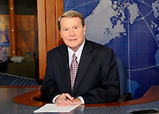 Jim Lehrer on the set of The Newshour
