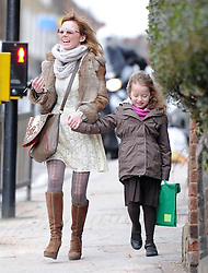Geri Halliwell picking up her daughter Bluebell Madonna from school. London, UK. 11/03/2013<br />