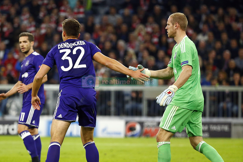 September 12, 2017 - France - MUNCHEN,GERMANY - SEPTEMBER 12 :  Leander Dendoncker midfielder of RSC Anderlecht and Matz Sels goalkeeper of RSC Anderlecht   during the match between Bayern Munchen and Rsc Anderlecht - UEFA  Champions League, on the Allianz Arena ,12/09/2017. (Credit Image: © Panoramic via ZUMA Press)