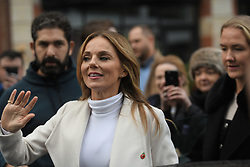 Spice Girls Geri Horner waves to fans outside Global Radio studios in Leicester Square, London.