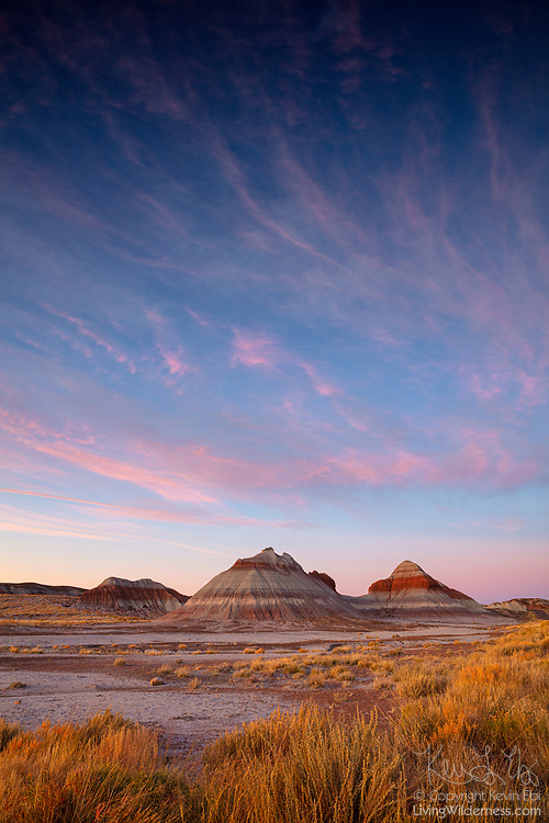 Altocumulus clouds, turned pink by the setting sun, fill the sky over badlands formations known as the Tepees in Petrified Forest National Park, Arizona. Tepees, also spelled tipi or teepee, is a tent that is traditionally made of animal skins over wooden poles. While humans have lived for 13,000 years in and around the modern day Petrified Forest National Park, the native dwellings were more commonly pithouses and pueblos.