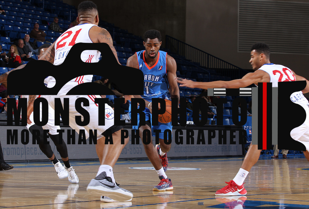 Oklahoma City Blue Forward BOUBACAR MOUNGORO (1) drives the lane in second half of a NBA D-league regular season basketball game between the Delaware 87ers and the Oklahoma City Blue (Oklahoma City Thunder) Tuesday, Dec. 13, 2016, at The Bob Carpenter Sports Convocation Center in Newark, DEL