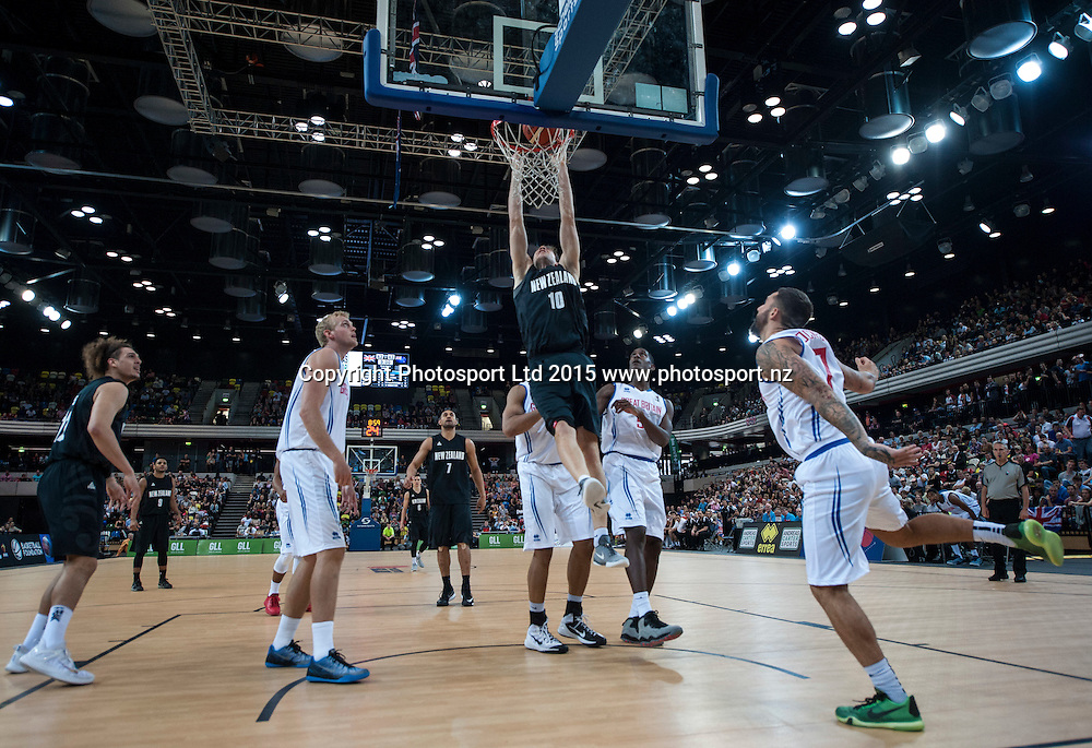 25.07.2015. London England. Basketball test match. Great Britain versus New Zealand.  Tall Blacks Forward Thomas Abercrombie [#10] in action under the basket.