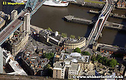 aerial photograph  Bridge Street  Newcastle upon Tyne England UK