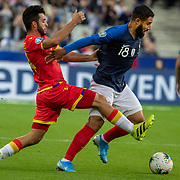 PARIS, FRANCE - September 10:  Nabil Fekir #18 of France defended by Jordi Aláez #14 of Andorra during the France V Andorra, UEFA European Championship 2020 Qualifying match at Stade de France on September 10th 2019 in Paris, France (Photo by Tim Clayton/Corbis via Getty Images)