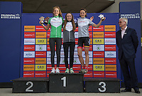 LONDON UK 29TH JULY 2016:  Hannah Brehaut Alderney Baker Lucy Gadd John Foley Youth Girls A U16. Prudential RideLondon Grand Prix at the London Velo Park. Prudential RideLondon in London 29th July 2016<br /> <br /> Photo: Jed Leicester/Silverhub for Prudential RideLondon<br /> <br /> Prudential RideLondon is the world&rsquo;s greatest festival of cycling, involving 95,000+ cyclists &ndash; from Olympic champions to a free family fun ride - riding in events over closed roads in London and Surrey over the weekend of 29th to 31st July 2016. <br /> <br /> See www.PrudentialRideLondon.co.uk for more.<br /> <br /> For further information: media@londonmarathonevents.co.uk