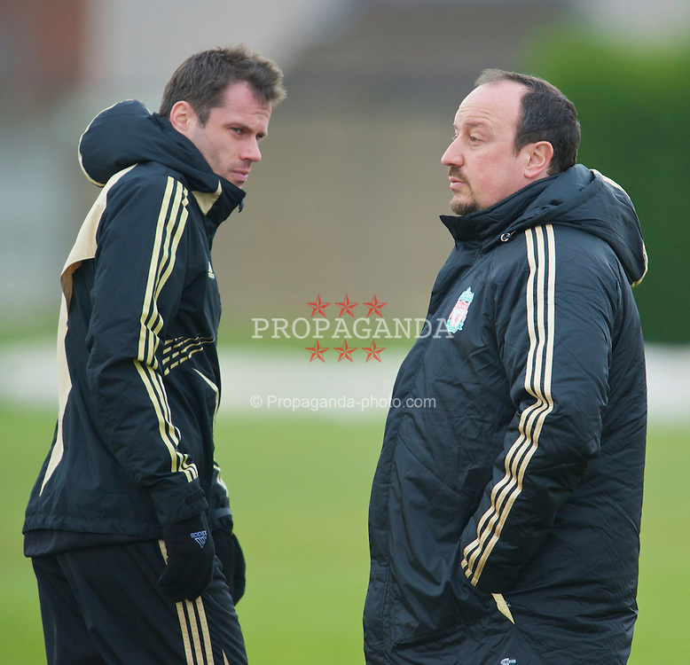 LIVERPOOL, ENGLAND - Monday, March 9, 2009: Liverpool's manager Rafael Benitez and Jamie Carragher training at Melwood ahead of the UEFA Champions League First Knockout Round 2nd Leg match against Real Madrid. (Photo by David Rawcliffe/Propaganda)