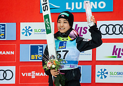 Winner Sara Takanashi of Japan celebrates at trophy ceremony during Day 3 of World Cup Ski Jumping Ladies Ljubno 2019, on February 10, 2019 in Ljubno ob Savinji, Slovenia. Photo by Matic Ritonja / Sportida