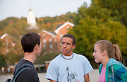 19076Campus shots fall, students...Trace Lydick(black shirt), Wesley Lowery(glasses) and Brittany Waverton