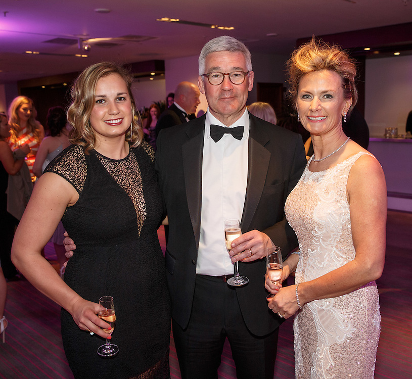 BNO Maggie's Spring Ball at Radisson Hotel Glasgow.  Walter Malcolm (C) with his wife Yvonne Malcolm (R) and daughter Rachel (L). Picture Robert Perry for The Herald and  Evening Times 23rd April 2016<br /> <br /> Must credit photo to Robert Perry<br /> <br /> FEE PAYABLE FOR REPRO USE<br /> FEE PAYABLE FOR ALL INTERNET USE<br /> www.robertperry.co.uk<br /> NB -This image is not to be distributed without the prior consent of the copyright holder.<br /> in using this image you agree to abide by terms and conditions as stated in this caption.<br /> All monies payable to Robert Perry<br /> <br /> (PLEASE DO NOT REMOVE THIS CAPTION)<br /> This image is intended for Editorial use (e.g. news). Any commercial or promotional use requires additional clearance. <br /> Copyright 2016 All rights protected.<br /> first use only<br /> contact details<br /> Robert Perry     <br /> 07702 631 477<br /> robertperryphotos@gmail.com<br />         <br /> Robert Perry reserves the right to pursue unauthorised use of this image . If you violate my intellectual property you may be liable for  damages, loss of income, and profits you derive from the use of this image.