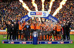 Free to use courtesy of Sky Bet - Wolverhampton Wanderers lift the Sky Bet Championship 2017/18 league trophy - Mandatory by-line: Matt McNulty/JMP - 28/04/2018 - FOOTBALL - Molineux - Wolverhampton, England - Wolverhampton Wanderers v Sheffield Wednesday - Sky Bet Championship