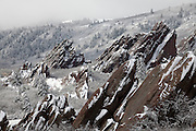 A late April storm drops fresh snow at Roxborough State Park located in Douglas County, 15 miles south of Denver, Colorado.