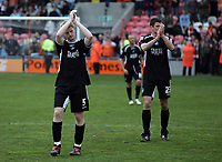 Photo: Paul Thomas.<br /> Blackpool v Swansea City. Coca Cola League 1. 15/04/2006.<br /> <br /> Dejected Swansea players Alan Tate and Owain Tudor Jones thank the travelling crowd.