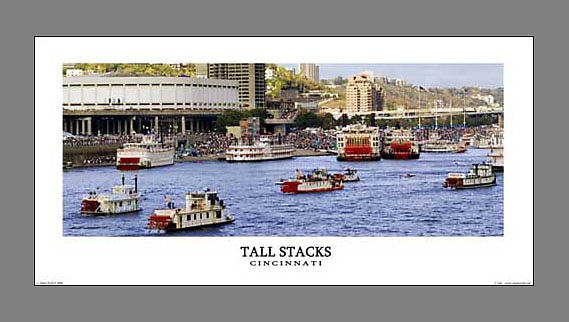 Signed and numbered 12x24 panoramic poster of the Ohio River during the Tall Stacks festival in Cincinnati