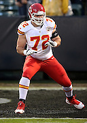 Kansas City Chiefs tackle Eric Fisher (72) warms up before the NFL week 12 regular season football game against the Oakland Raiders on Thursday, Nov. 20, 2014 in Oakland, Calif. The Raiders won their first game of the season 24-20. ©Paul Anthony Spinelli