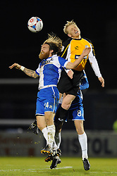 Bristol Rovers' Stuart Sinclair challenges for the ball with Gateshead's Jamie Chandler - Photo mandatory by-line: Dougie Allward/JMP - Mobile: 07966 386802 - 19/12/2014 - SPORT - football - Bristol - Memorial Stadium - Bristol Rovers v Gateshead  - Vanarama Conference