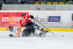 25.01.2019, Ice Rink, Znojmo, CZE, EBEL, HC Orli Znojmo vs Moser Medical Graz 99ers, 41. Runde, im Bild v.l. Peter Robin Weihager (Moser Medical Graz99ers) Eric Nemec (HC Orli Znojmo) // during the Erste Bank Eishockey League 41th round match between HC Orli Znojmo and Moser Medical Graz 99ers at the Ice Rink in Znojmo, Czechia on 2019/01/25. EXPA Pictures © 2019, PhotoCredit: EXPA/ Rostislav Pfeffer