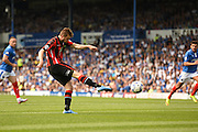 Tom Barkhuizen opens the scoring for Morecambe during the Sky Bet League 2 match between Portsmouth and Morecambe at Fratton Park, Portsmouth, England on 22 August 2015. Photo by David Charbit.