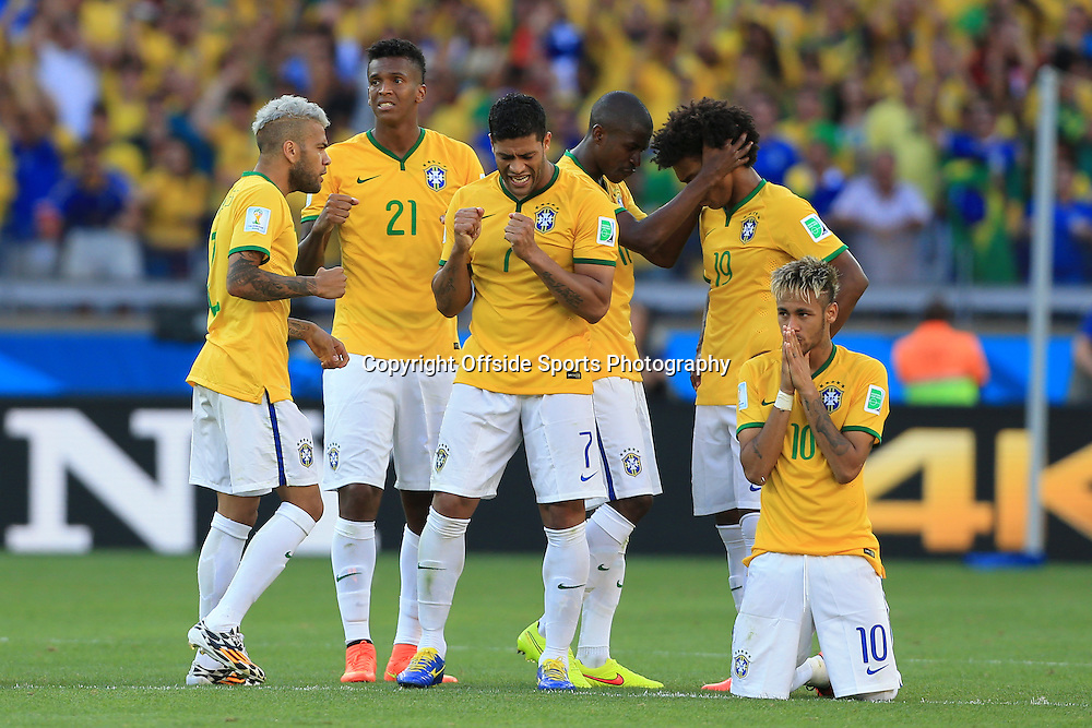 28th June 2014 - FIFA World Cup - Round of 16 - Brazil v Chile - Brazil players look anxious during the shootout - Photo: Simon Stacpoole / Offside.
