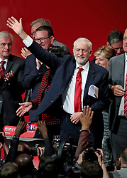 Labour leader Jeremy Corbyn following his speech at the party's Annual Conference at the Brighton Centre in Brighton, East Sussex.