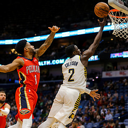 Mar 21, 2018; New Orleans, LA, USA; Indiana Pacers guard Darren Collison (2) shoots over New Orleans Pelicans guard Larry Drew II (1) during the second quarter at the Smoothie King Center. Mandatory Credit: Derick E. Hingle-USA TODAY Sports