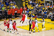 Golden State Warriors forward Draymond Green (23) battles Houston Rockets center Clint Capela (15) for a jump ball during Game 6 of the Western Conference Finals at Oracle Arena in Oakland, Calif., on May 26, 2018. (Stan Olszewski/Special to S.F. Examiner)