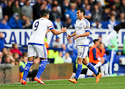 Pedro Rodriguez of Chelsea is replaced by Radamel Falcao - Mandatory byline: Matt McNulty/JMP - 07966386802 - 12/09/2015 - FOOTBALL - Goodison Park -Everton,England - Everton v Chelsea - Barclays Premier League